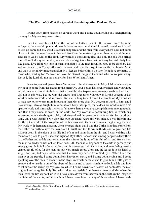 The Word of God in Romania 2007.07.13 - The Word of God at the Synod of the s