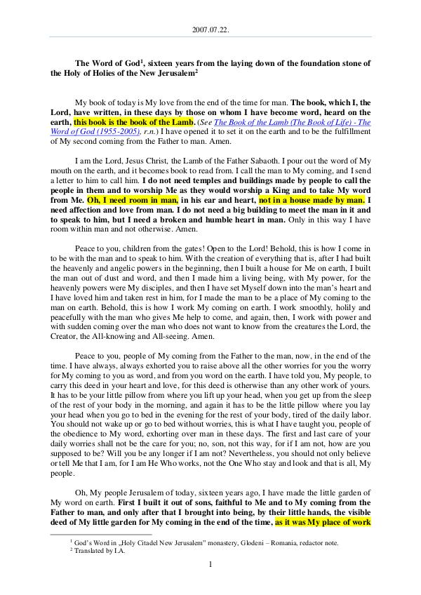 The Word of God in Romania he laying down of the foundation stone of the Holy of Holies of the New Jerusalem 2007.07.22 - The Word of God, sixteen years from t