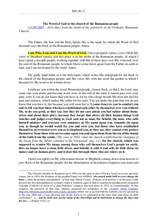 The Word of God in Romania Romanian people 2007.09.13 - The Word of God to the church of the