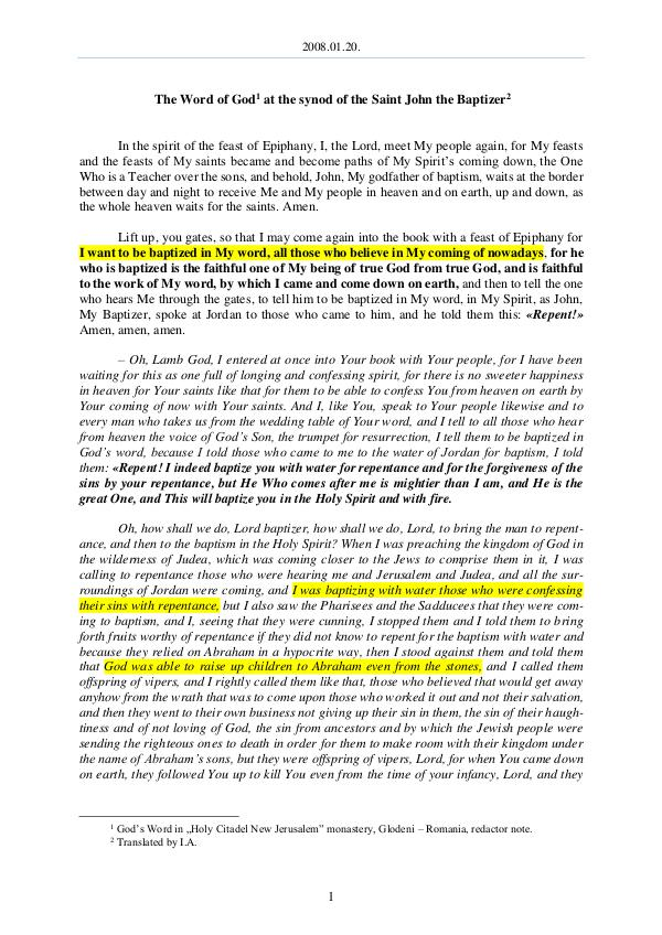 The Word of God in Romania aint John the Baptizer 2008.01.20 - The Word of God at the synod of the S