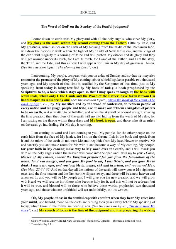 The Word of God in Romania fearful judgment 2009.02.22 - The Word of God on the Sunday of the