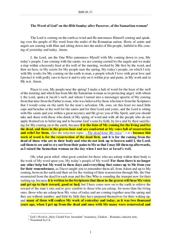 The Word of God in Romania fter Passover, of the Samaritan woman 2009.05.17 - The Word of God on the fifth Sunday a