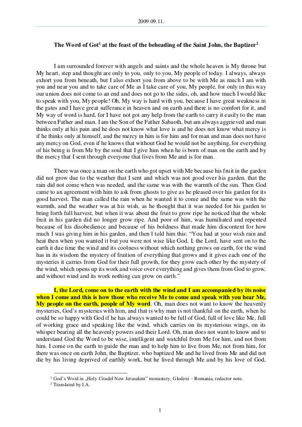 The Word of God in Romania eheading of the Saint John, the Baptizer 2009.09.11 - The Word of Got at the feast of the b