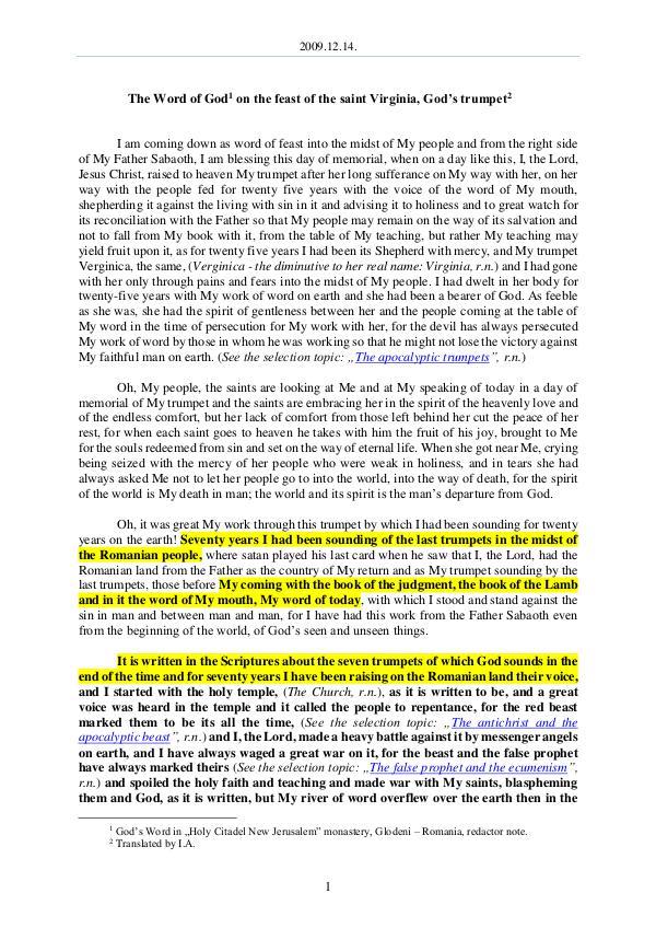 The Word of God in Romania aint Virginia, God's trumpet 2009.12.14 - The Word of God on the feast of the s