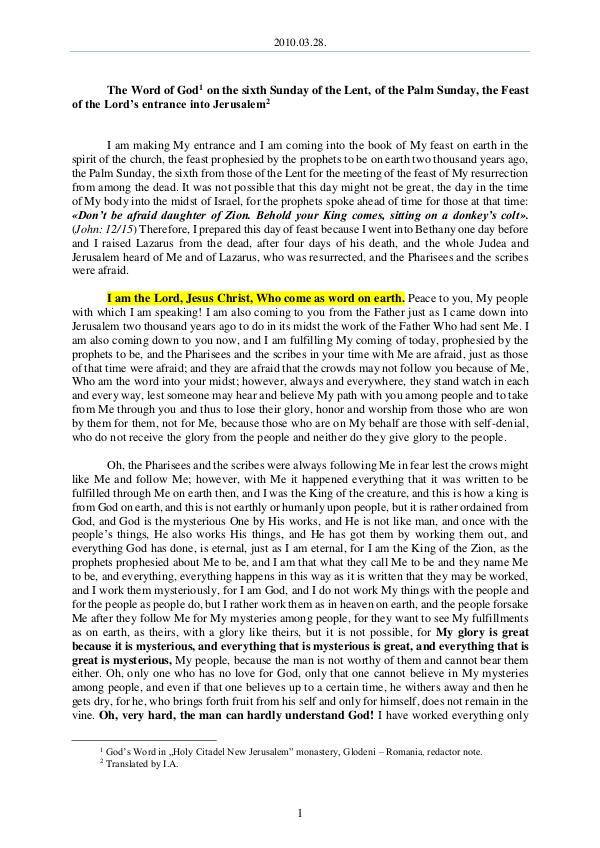 2010.03.28 - The Word of God on the sixth Sunday o
