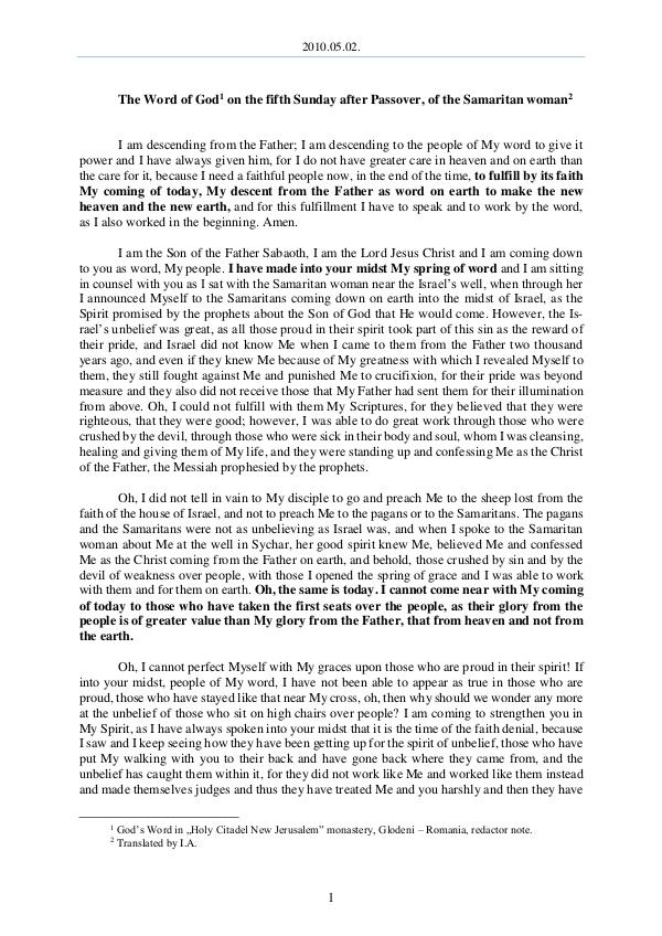 2010.05.02 - The Word of God on the fifth Sunday a