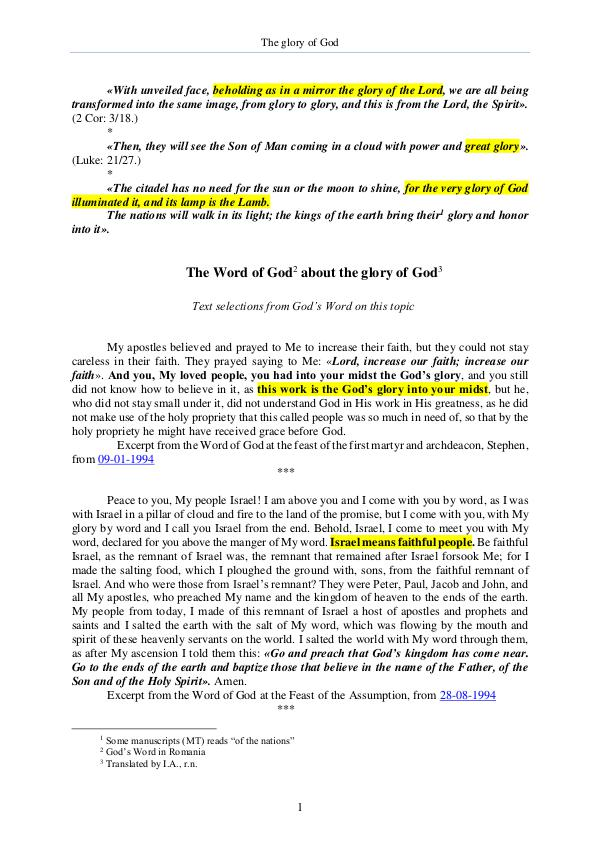 The Word of God about the Glory of the God The Word of God about the Glory of the God