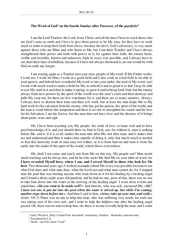 The Word of God in Romania after Passover, of the paralytic 2011.05.15 - The Word of God on the fourth Sunday