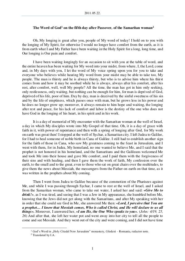 The Word of God in Romania r Passover, of the Samaritan woman 2011.05.22 - The Word of God on the fifth day afte