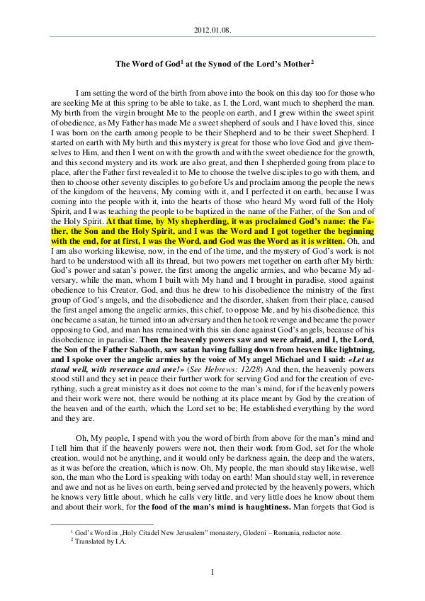 The Word of God in Romania ord s Mother 2012.01.08 - The Word of God at the Synod of the L