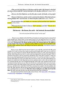 The Word of God about the heaven – the throne, the