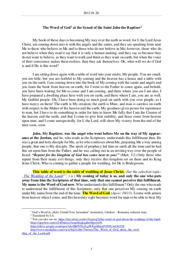 The Word of God in Romania aint John the Baptizer 2012.01.20 - The Word of God at the Synof of the S