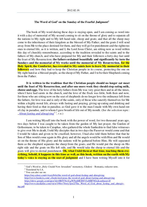The Word of God in Romania fearful Judgment 2012.02.19 - The Word of God on the Sunday of the