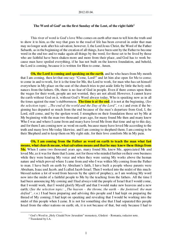 The Word of God in Romania f the Lent, of the right faith 2012.03.04 - The Word of God on the first Sunday o
