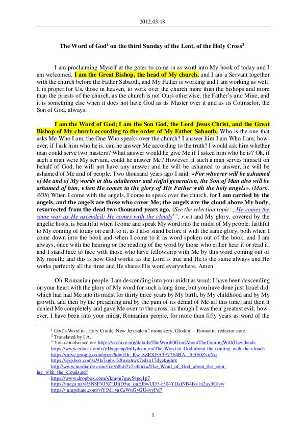 The Word of God in Romania f the Lent, of the Holy Cross 2012.03.18 - The Word of God on the third Sunday o