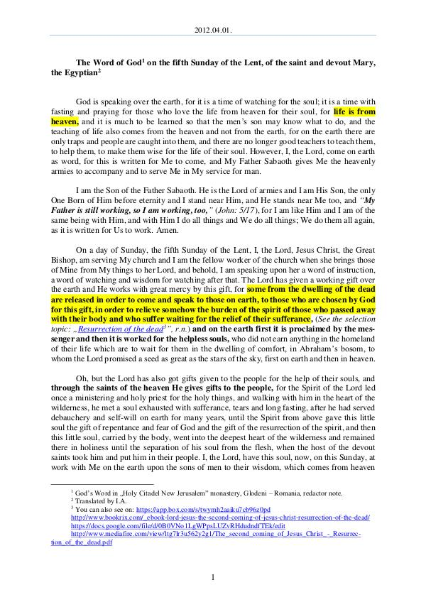 The Word of God in Romania  the Lent, of the saint and devout Mary, the Egyptian 2012.04.01- The Word of God on the fifth Sunday of