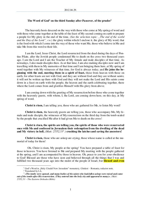 The Word of God in Romania fter Passover, of the prudes 2012.04.29 - The Word of God on the third Sunday a