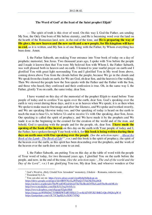 The Word of God in Romania aint prophet Elijah 2012.08.02 - The Word of God at the feast of the S