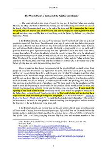 The Word of God in Romania aint prophet Elijah