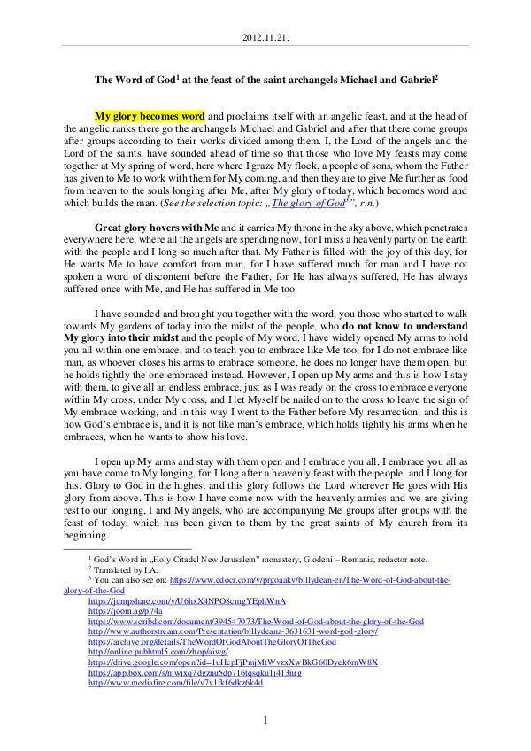 The Word of God in Romania aint archangels Michael and Gabriel 2012.11.21 - The Word of God at the feast of the s