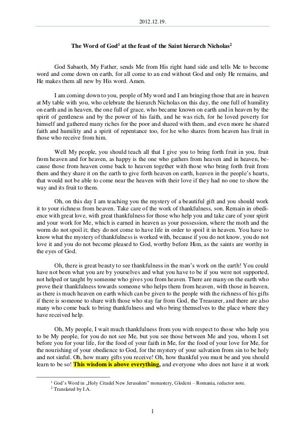The Word of God in Romania aint hierarch Nicholas 2012.12.19 - The Word of God at the feast of the S