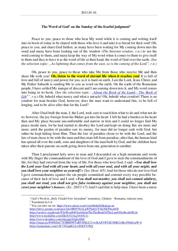 The Word of God in Romania dreadful judgment 2013.03.10 - The Word of God on the Sunday of the