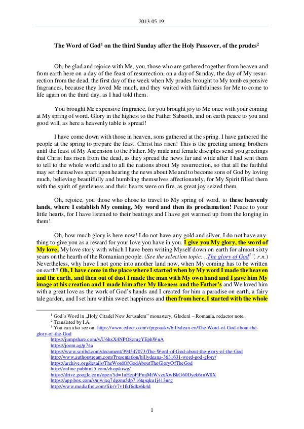 The Word of God in Romania fter the Holy Passover, of the prudes 2013.05.19 - The Word of God on the third Sunday a