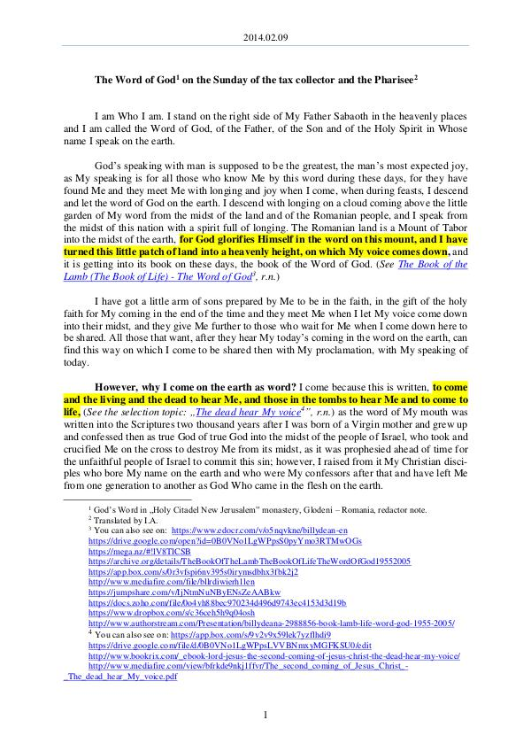 2014.02.09 - The Word of God on the Sunday of the
