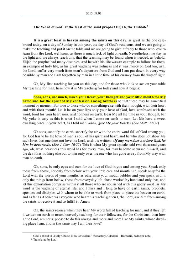 The Word of God in Romania 2015.08.02 - The Word of God at the feast of the s