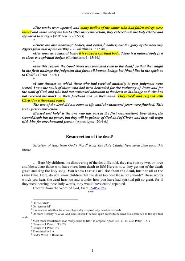 The second coming of Jesus Christ The Word of God about the resurrection of the dead