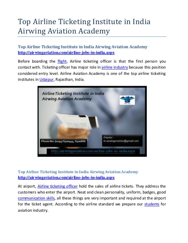 Top Airline Ticketing Institute in India Airwing Aviation Academy