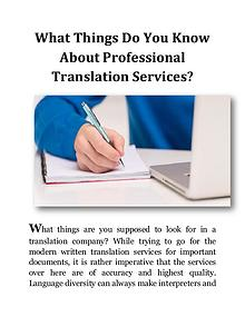 What Things Do You Know About Professional Translation Services?