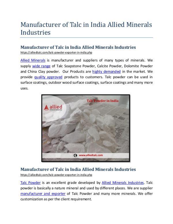 ManufacturerofTalc in India Allied Minerals Industries ManufacturerofTalc in India Allied Minerals Indu