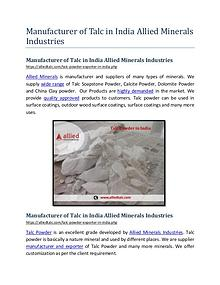 Manufacturer of Talc in India Allied Minerals Industries