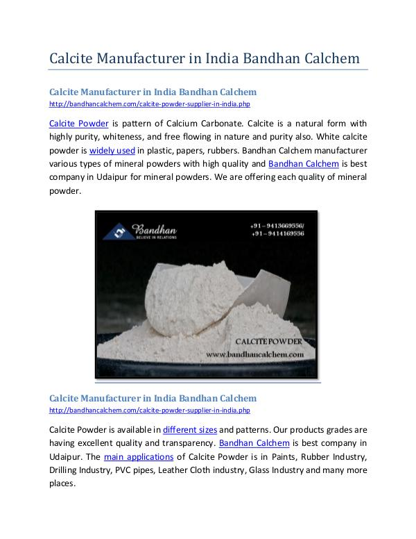 Calcite Manufacturer in India Bandhan Calchem Calcite Manufacturer in India Bandhan Calchem