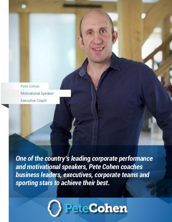 Pete Cohen - Motivational Speaker and Executive Coach
