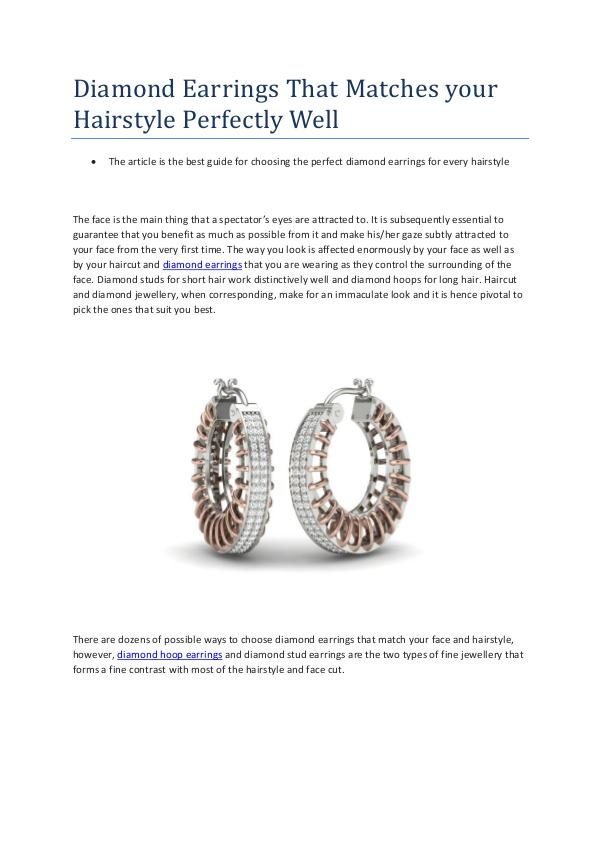 Diamond Earrings That Matches your Hairstyle Perfe