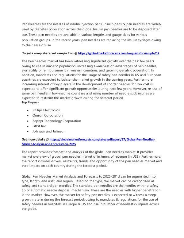 Freelancer Global Market Research Report Global Pen Needles Market Forecasts Report