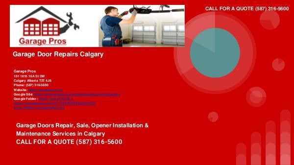 Garage Pros - garage door repairs - Calgary Alberta garagedoorrepairscalgary