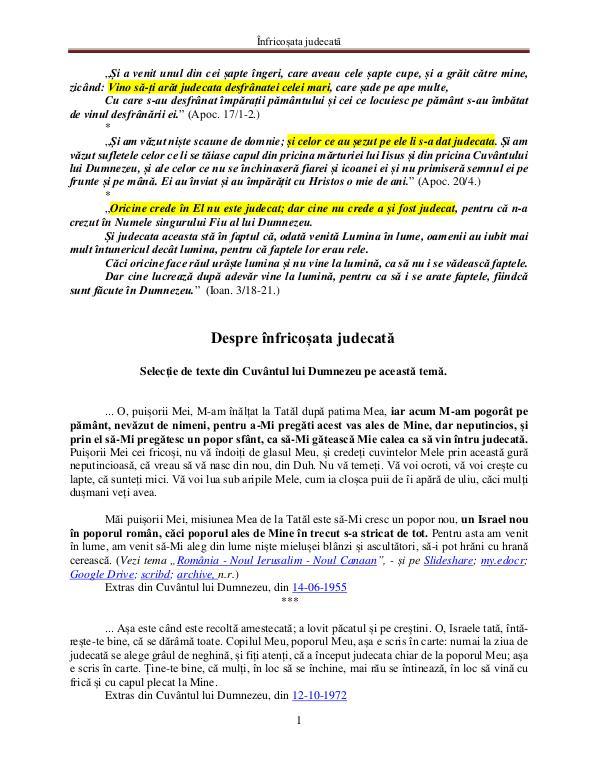 A doua venire a Domnului Iisus Hristos Cuvântul lui Dumnezeu despre înfricoșata judecată
