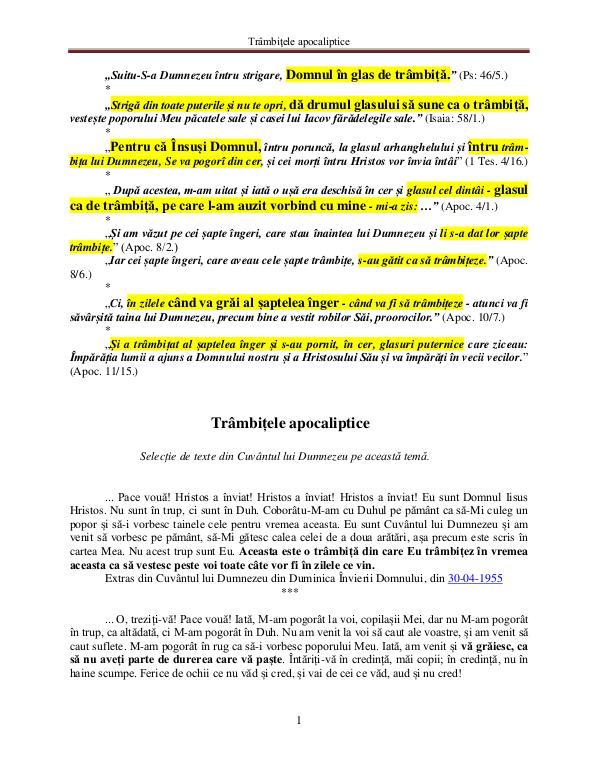 A doua venire a Domnului Iisus Hristos Cuvântul lui Dumnezeu despre trâmbiţele apocalipti