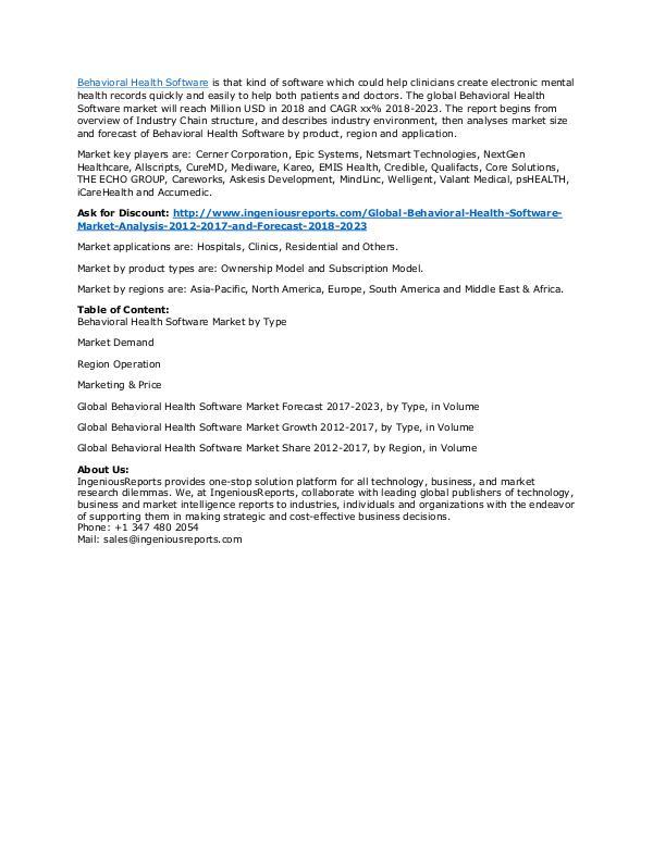 Behavioral Health Software Market Forecast 2018-2023 & Industry Outlo Global Behavioral Health Software Market Analysis