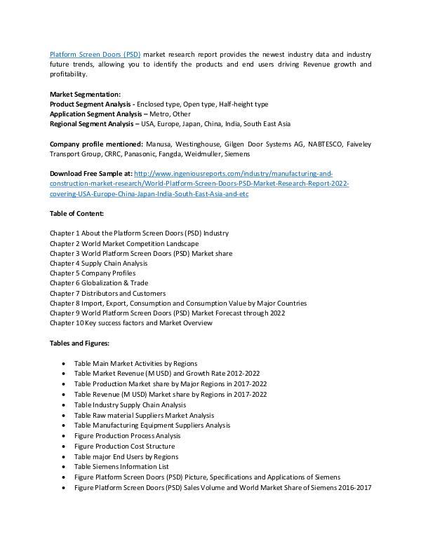 Platform Screen Doors (PSD) Market Research and Industry