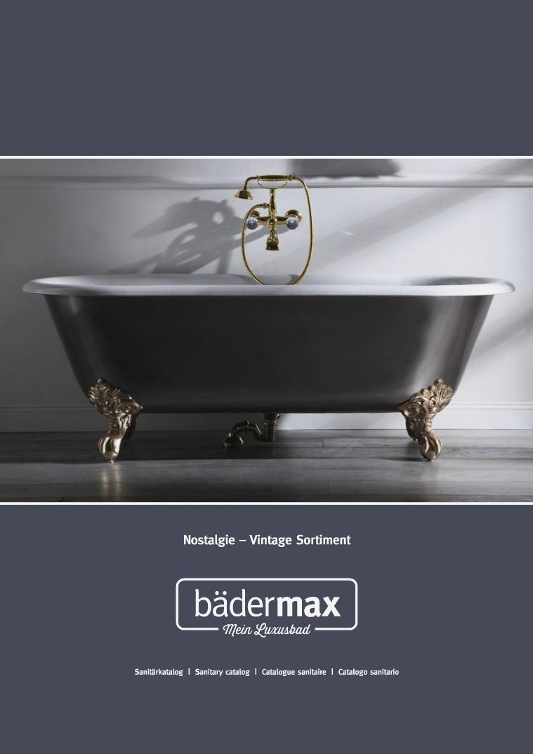 Bädermax Katalog für Ihre hochwertige Nostalgie-Badausstattung 2018