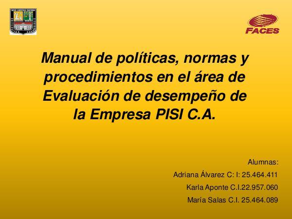 Manual de Politicas, presentacion Manual de politicas