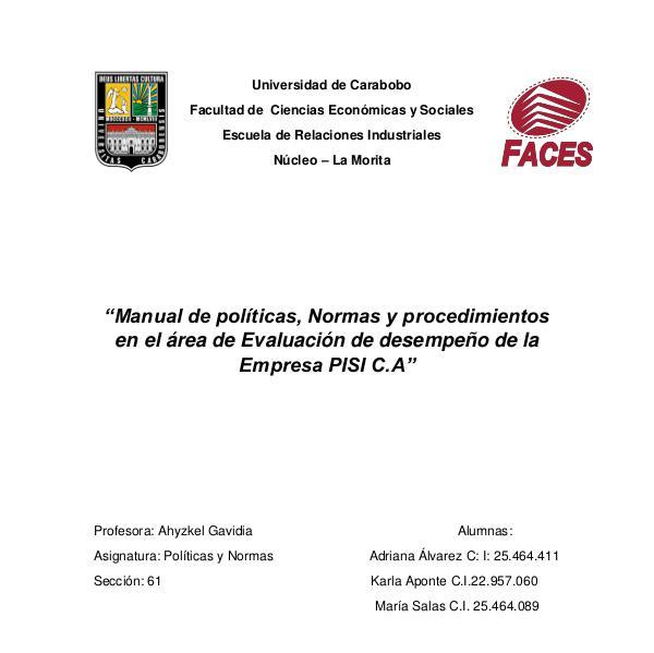 Manual de políticas pdf MANUAL DE POLITICAS . PISI C