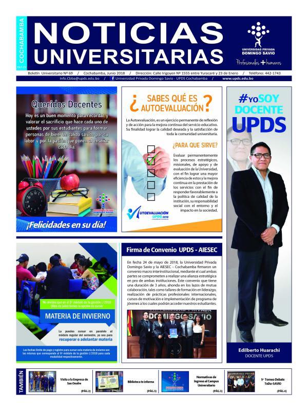 Boletín Universitario UPDS junio 2018 Boletín Universitario UPDS Junio 2018