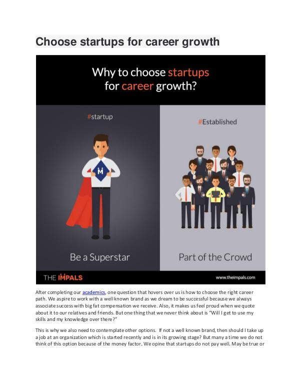 My first Magazine Choose startups for career growth