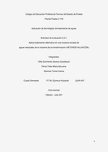 ¨Tecnologías alternativas para el Tratamiento de Aguas Residuales¨