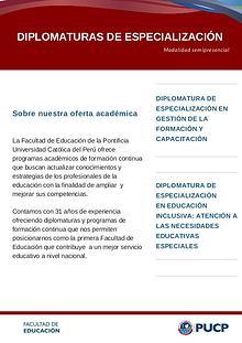 Diplomaturas Facultad de Educación PUCP